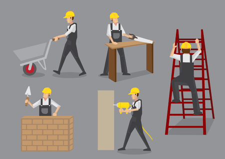 Builder in yellow helmet and overall work clothes working with manual tools and equipment at construction site. cartoon characters isolated on grey background Stock Illustratie