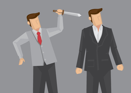 politics: Office worker holding a knife behind another business executive. Creative illustration for backstabbing metaphor and office politics concept isolated on grey background. Illustration