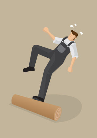 backwards: cartoon illustration of a worker stepping on a log, losing balance and falling backwards isolated on plain background.