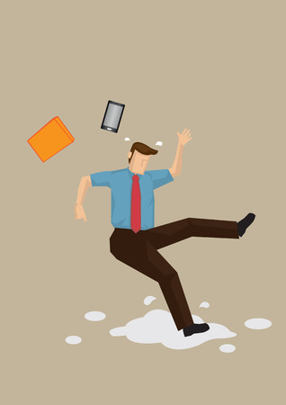 dipendente del fumetto scivolato sul pavimento bagnato e ha perso l'equilibrio con il suo telefono cellulare e la cartella volare via. fumetto illustrazione sul concetto di sicurezza sul lavoro isolato su sfondo chiaro. Vettoriali