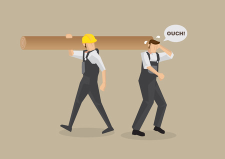 work injury: Cartoon man without work helmet gets hit on the head by worker carrying log on shoulder. illustration on workplace accident concept isolated on plain brown background.
