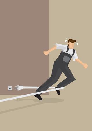 accidente trabajo: Trabajador tropieza cables el�ctricos y cae hacia adelante. ilustraci�n en accidentes relacionados con el trabajo y los riesgos laborales.