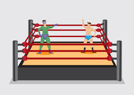 stage costume: Two cartoon professional wrestlers, one dressed in fancy costume, standing in wrestling ring stage. Vector illustration isolated on plain grey background.
