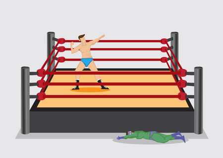 knock out: Victory wrestler posing on stage in wrestling ring and knocked out opponent lying on floor. Vector illustration isolated on plain grey background.