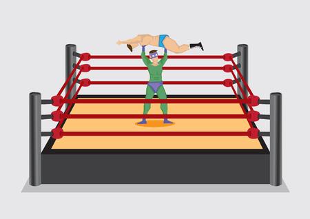 opponent: Wrestler in superhero costume lifts up opponent in wrestling ring, Vector cartoon illustration isolated on plain background. Illustration
