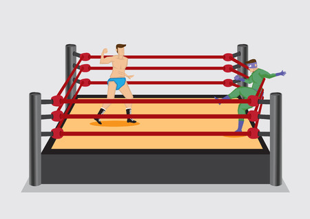 opponent: Wrestler dressed in costume fall back on the rope of wrestling ring after getting a punch from opponent. Vector illustration on wrestling sport entertainment industry.