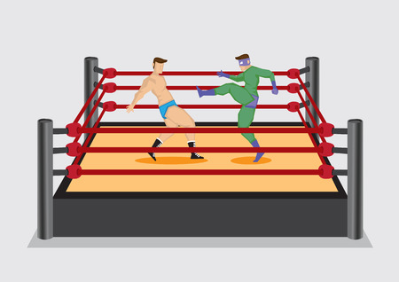 opponent: Entertainment wrestler dressed in green costume and mask delivers a high kick to opponent. Vector illustration on wrestling sport entertainment industry.