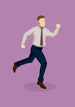 rush hour: Vector illustration of a businessman in running pose isolated on plain purple background.