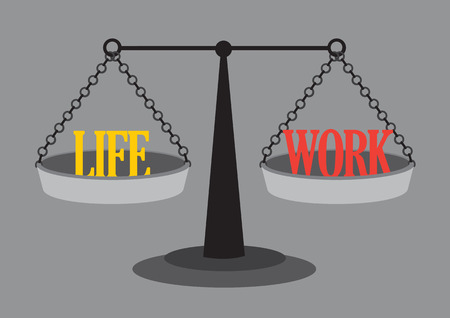 weighing scales: Text Life and Work on two sides go old-fashioned balance beam weighing scales. Vector illustration on work life concept isolated on grey background.