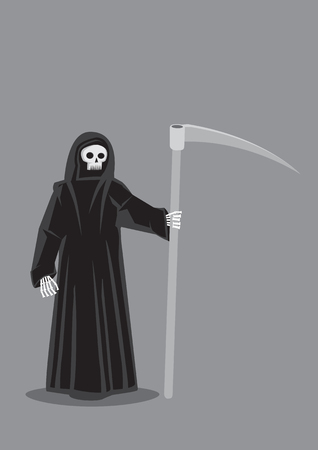 personification: Vector cartoon illustration of Grim Reaper, character personification of Death, skeleton dressed in black hooded cloak costume and carrying a scythe isolated on plain grey background.