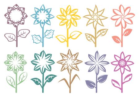 stalks: Set of designs of flowers on stalks with leaves. Set of ten vector illustration isolated on white background. Illustration