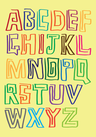 fanciful: Full set of alphabets with contour of each letter drawn with only one continuous line against yellow background.