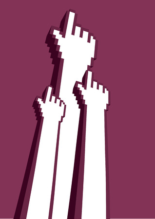 maroon background: Vector illustration three pixelated digital hands with index finger in click gesture isolated on plain maroon background.