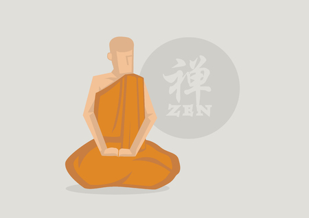 sutra: Vector illustration cartoon character of monk wearing saffron robe meditating in front of Zen circle symbol. Chinese character or Japanese Kanji in circle translate to Zen.