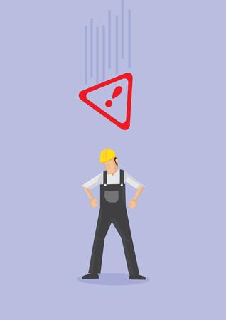 노란색 헬멧과 그의 머리 위에 떨어지는 경고 경고 기호를 인식하지 못하는 전체적으로 입고 남성 작업자. 보라색 일반 배경에 고립 된 작업 안전에 대 한 만화 스타일에서 개념적 벡터 일러스트 레이 션.