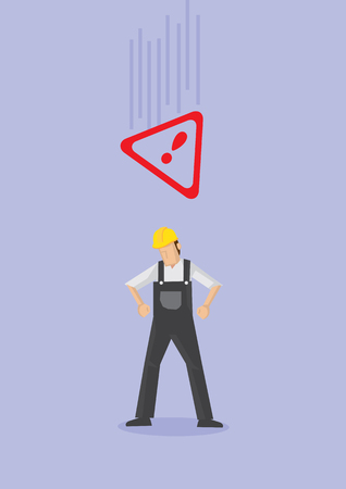 Male worker wearing yellow helmet and overall unaware of a falling Alert warning sign above his head. Conceptual vector illustration in cartoon style for work safety isolated on purple plain background.