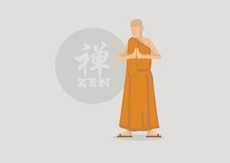 sutra: Vector illustration of Buddhist Monk wearing saffron robe praying with palms together and standing in front of Zen circle symbol. Chinese character or Japanese Kanji in circle translate to Zen.