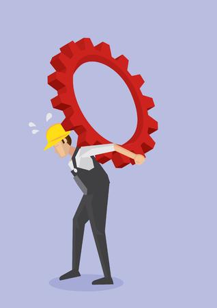 Vektor-Illustration der müde Arbeit Arbeiter in gelben Helm und insgesamt Arbeitskleidung tragen schwere Zahnradgetriebe auf krummen Rücken. Konzept für die harte Arbeit und Kampf der blue collar Arbeiterklasse