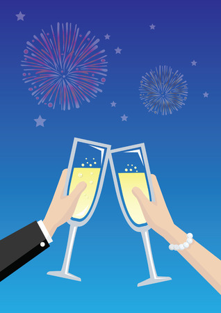 toasting: Illustration of hands of a couple holding wine glasses with golden sparkling champagne and toasting in front of fireworks in night sky.