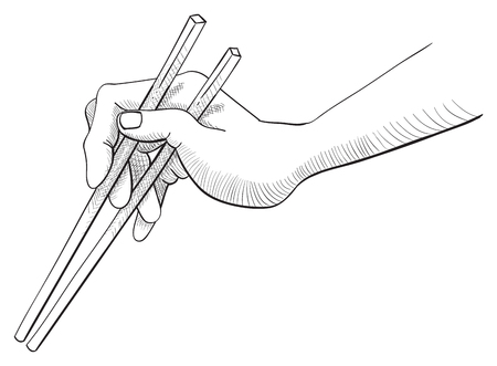 eat right: Hand drawn sketch of left hand holding a pair of chopsticks isolated on white background. Illustration