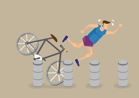 Cartoon cyclist without protective gear falling over as bicycle hits stone bollards.