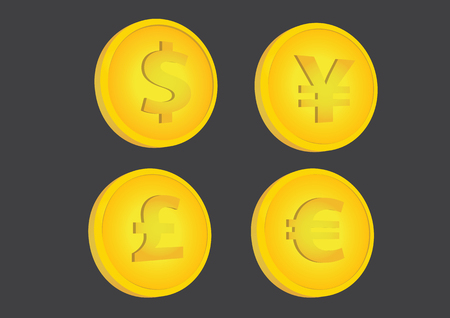 Set of four illustrations of gold coins with dollar, yen, pound and euro currency symbols, in slightly tilted position, isolated on black background.