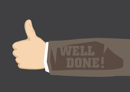 praise: Human arm extending from the side in thumbs up gesture and text Well Done! written on long sleeve.