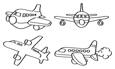Set of four outline illustration of cartoon airplane in different perspective views isolated on white background.