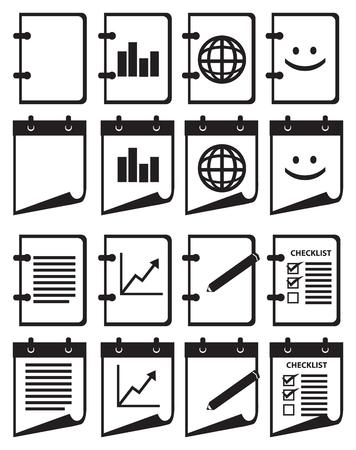 Set von zwölf Abbildung der Ring gebunden Notebook mit apps Icons auf der Titelseite auf weißem Hintergrund.