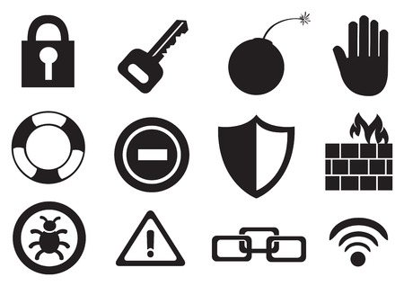 ring buoy: Illustration black and white icon set on internet risk and security concept isolated on white background.