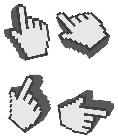 dedo indice: Conjunto de cuatro ilustraciones del dedo índice de símbolo clic en perspectivas diferentes aislados sobre fondo blanco.