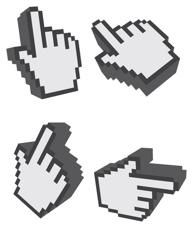 index finger: Set of four illustrations of index finger clicking symbol in different perspectives isolated on white background.