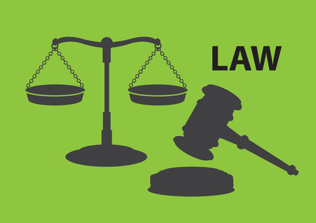 iconography: Silhouette of balance scales in equilibrium together with gavel and sound block. Illustration