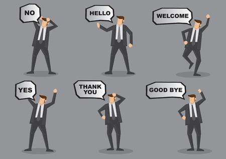 Set von sechs Cartoon Illustration der Geschäftsmann im Anzug mit Sprechblase und animierte Körpersprache und Gesten auf grauem Hintergrund.