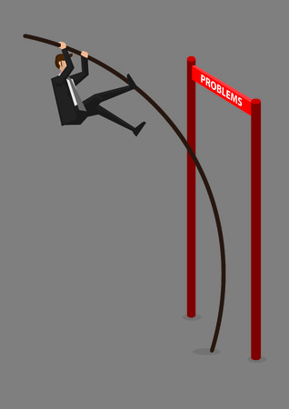 obstacles: Businessman doing pole vaulting over horizontal barrier hurdle with text Problems. Creative illustration for overcoming problems and obstacles in business concept isolated on grey background.