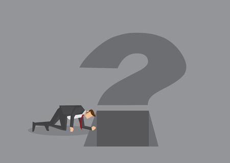 Curious businessman on all fours looking into a square hole at the bottom of question mark sign. cartoon illustration on metaphor for being curious at work isolated on grey background.