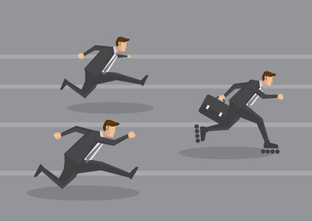 blading: White collar workers in black suit racing on running track and a smart one carrying briefcase gets ahead by wearing inline skates. Creative cartoon illustration for business concept. Illustration