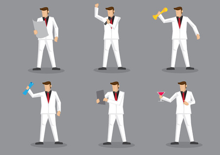 six objects: Cartoon man wearing full white suit and red necktie in party and holding different objects. Set of six  character illustrations isolated on grey background. Illustration