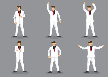 open shirt: Set of six cartoon illustration of flamboyant man in stylish white suit and red necktie posing in various gestures isolated on grey background.