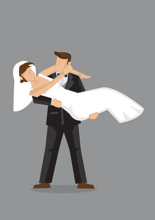 wed: illustration of cartoon bridegroom carries his newly wed bride in bridal style isolated on grey background.