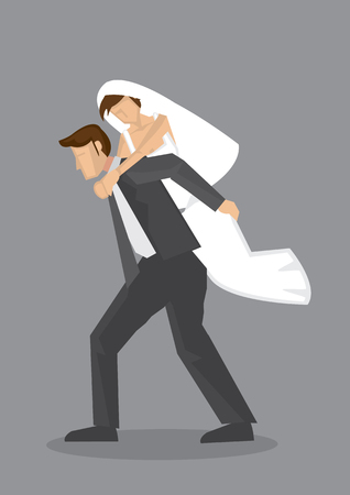 wedding dress back: Cartoon illustration of bridegroom carrying bride on his background isolated on grey background. Illustration