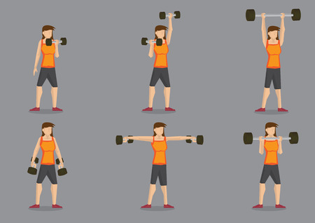 activewear: Set of six illustration of woman doing weights training with dumbbells isolated on grey background.
