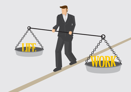 treading: Businessman walking on balance beam and holding balance scales with text Work and Life on each pan. Creative illustration for work life balance concept isolated on plain background.