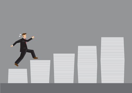 perspiration: Cartoon business man running on stacks of documents. Creative cartoon illustration for work to achieve higher goals concept isolated on grey background. Illustration