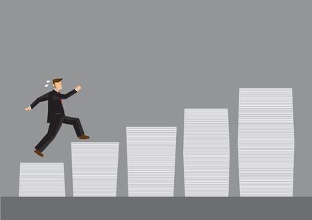 diligente: hombre de negocios de dibujos animados que se ejecutan en pilas de documentos. ilustración de dibujos animados para el trabajo creativo para lograr una mayor metas concepto aislado sobre fondo gris. Vectores