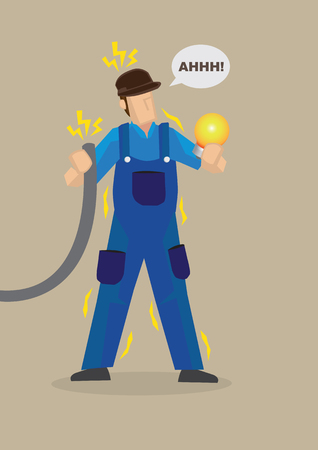 electrocution: Electrician holding wire and light bulb getting electrocuted. cartoon character on work safety concept isolated on plain background.