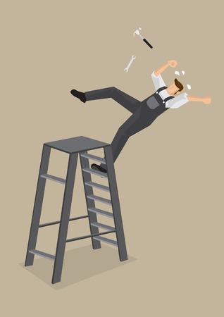 Trabalhador de colarinho azul perde o equilíbrio e cai para trás da escada com ferramentas voando. Ilustração dos desenhos animados no conceito acidente de trabalho isolado no fundo liso.