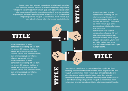 copy center: Vector page layout design of four overlapping arms holding fists in the center. Background template design for business with copy space isolated on teal color background.