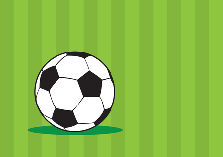truncated: illustration of soccer ball with black and white truncated icosahedron pattern isolated on green striped pattern background with copy space.