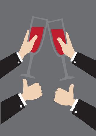 formal party: illustration of hands in formal long sleeves suit clinking wine glasses and thumbs up gestures isolated on grey background. Concept for corporate party.